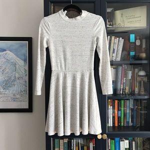 AA Open-Back Long-Sleeve Ponte Mini Dress